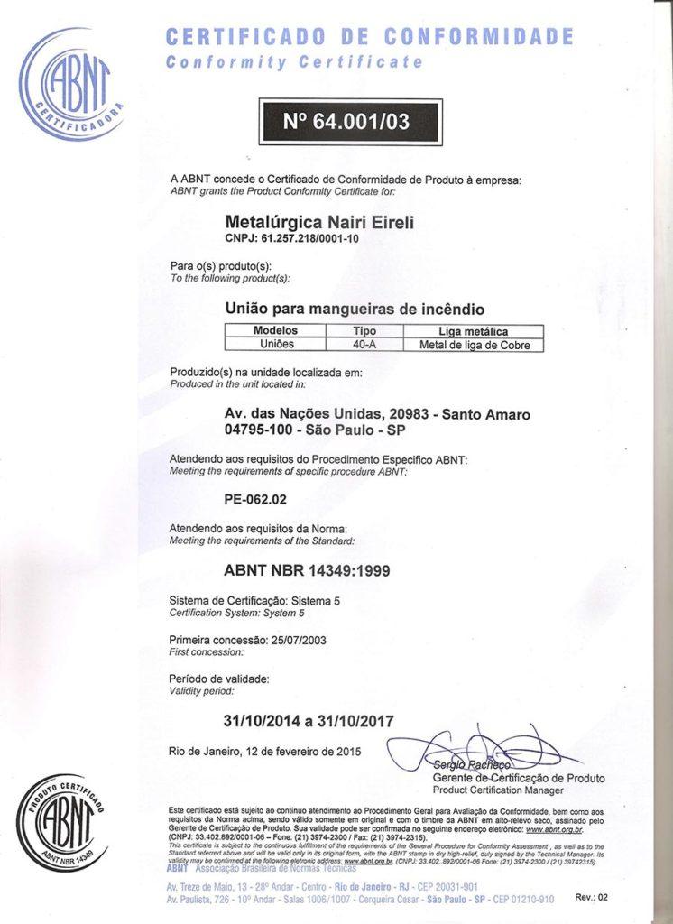 certificado-nairi-uniao-40a-nbr14349_